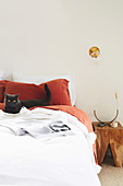 Black cat on bed with white and red bedding