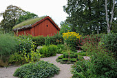 Falu red wooden house with green roof and well-tended garden