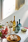 Various vases on sideboard