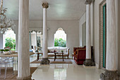 Pillars in exclusive, open-plan, Mediterranean-style interior