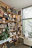 Pflanzen, Zeitschriften, Bücher und Krimskrams in Wandregalen