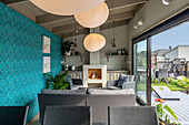 Living space in modern summerhouse with terrace