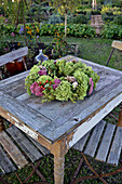 Autumn wreath as a table decoration