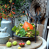 Autumn decoration with pumpkin, rose hips, hop vine and chestnuts