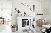 Fireplace in white, Bohemian-style living room