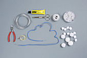Craft supplies for making snowy-cloud mobile