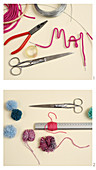 Instructions for making wreaths with names and pompoms