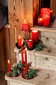 Festively decorated wooden steps