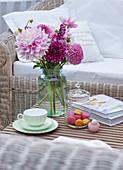 Dahlia bouquet on the terrace table