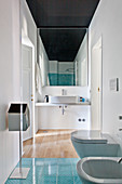 Narrow modern bathroom with black ceiling