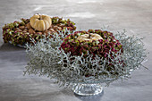 Arrangement of pumpkin, hydrangeas and barbed wire plant on cake stand