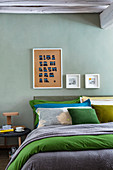 Bedroom in shades of blue and green