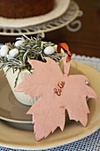 Maple leaf made from terracotta modelling clay as Easter decoration