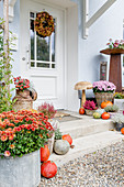 Autumn decoration at the house entrance