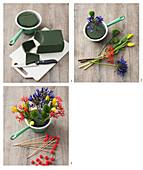 Anleitung für ein Gesteck mit Tulpen, Jatropha und Schmucklilien