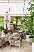 Wicker chairs around set table in cosy conservatory