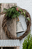 Mühlenbeckia wreath with yew tree, olive branch and bell