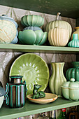 Collection of ceramics in shades of green
