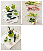 How to make a Spring arrangement with roses and asparagus in a green apple
