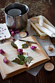 Materials for making handmade scented wax tablets with flowers and leaves