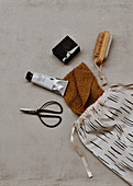 Cloth bag, scissors, knitted cloth, oil paint, soap and nail brush