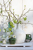 Delicate spring arrangement of budding branches and snowdrops