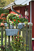 Jars, terracotta pots and small buckets upturned on top of fence slats outside summerhouse
