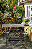 Garden table and chairs on terrace outside summerhouse