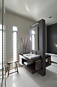 Modern washstand with countertop sink against partition in bathroom