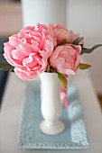 Pink camellias in vase