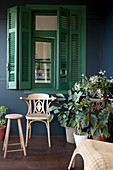Potted plants, stool and wooden chair below window with green shutters on roofed veranda