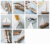 Instructions for making sailing boat ornaments from driftwood and fabric remnants