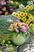 Posy of Lantana, herb Robert and yarrow