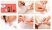 Ostereier aus rot-weiß gepunktetem Papier basteln