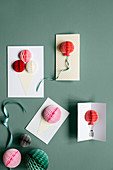 Handmade popup cards decorating walls