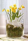 Selbstgemachter Deko-Hase in einer Glasvase mit Moos und Narzissen