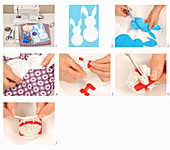 Instructions for making cushion with appliqué rabbits and pompoms