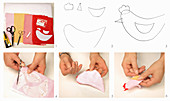 Instructions for making hen-shaped fabric egg warmers
