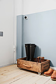 DIY shoe rack made from wooden crate