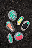 Pebbles painted with vegetables