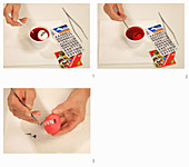 Instructions for masking off letters and dying Easter egg red