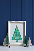 Picture of stylised Christmas tree made from stamped triangles