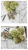 Kleiderbügel mit Hortensienblüten umwickeln
