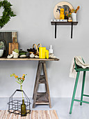 Kitchen accessories in natural shades on trestle table