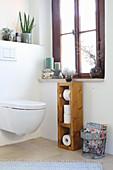 DIY wooden toilet paper holder