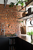Suspended shelves in front of window in kitchen with black cabinets and brick wall