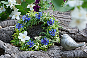 Wreath of cornflowers and mock orange flowers