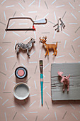 Craft utensils for making coat rack with hooks made from animal figurines