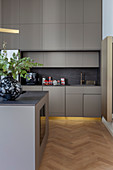 Island counter and golden baseboards in grey modern kitchen