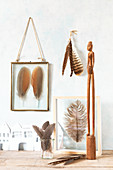 Arrangement in shades of brown with real feathers in glass frames